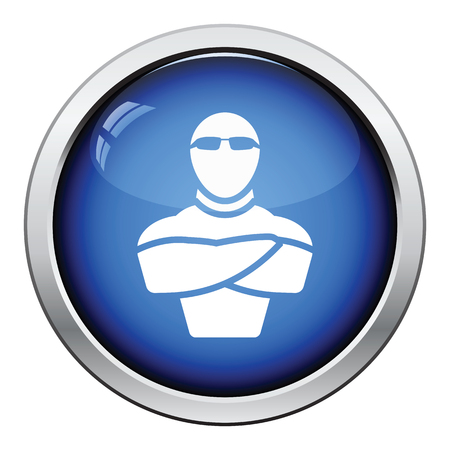 muscular control: Night club security icon. Glossy button design. Vector illustration.