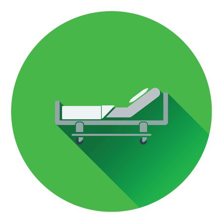 intensive care: Hospital bed icon. Flat color design. Vector illustration. Illustration