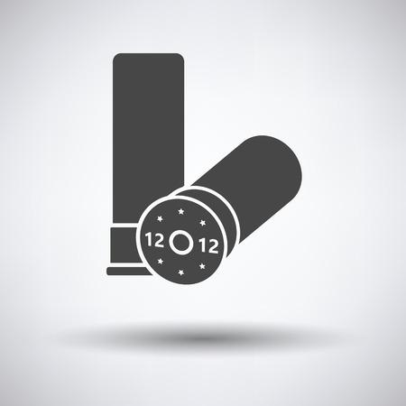 Hunt gun ammo icon on gray background, round shadow. Vector illustration. Vektoros illusztráció