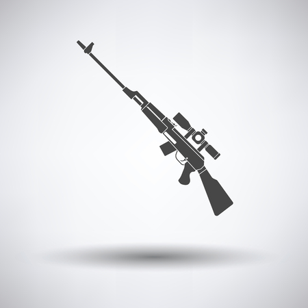 sniper: Sniper rifle icon on gray background, round shadow. Vector illustration.