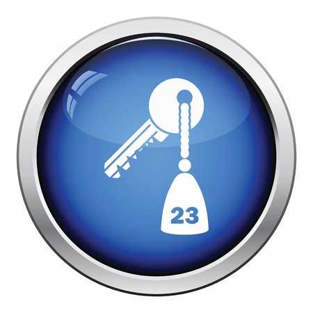 button icon: Hotel room key icon. Glossy button design. Vector illustration. Illustration