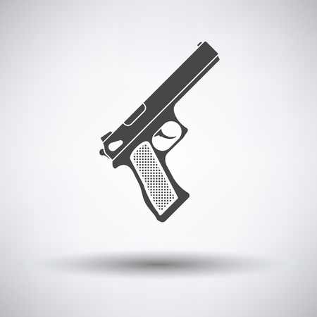 semi automatic: Gun icon on gray background, round shadow. Vector illustration.