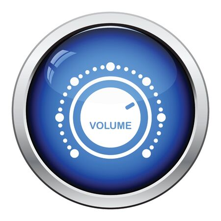 woofer: Volume control icon. Glossy button design. Vector illustration.