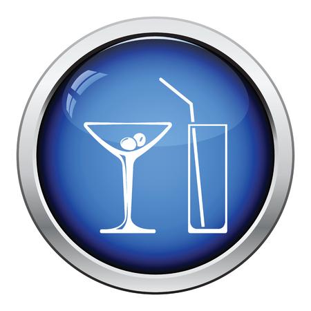 glasses icon: Coctail glasses icon. Glossy button design. Vector illustration. Illustration