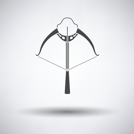 crossbow: Crossbow icon on gray background, round shadow. Vector illustration.