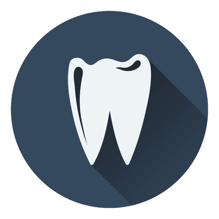 mouth screen: Tooth icon. Flat color design. Vector illustration.