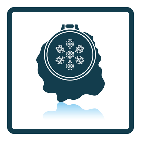 stitchery: Sewing hoop icon. Shadow reflection design. Vector illustration. Illustration