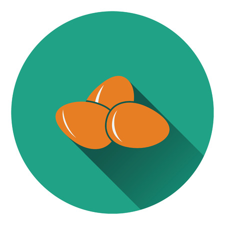 brown egg: Eggs icon. Flat color design. Vector illustration.
