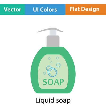 liquid soap: Liquid soap icon. Flat color design. Vector illustration. Illustration