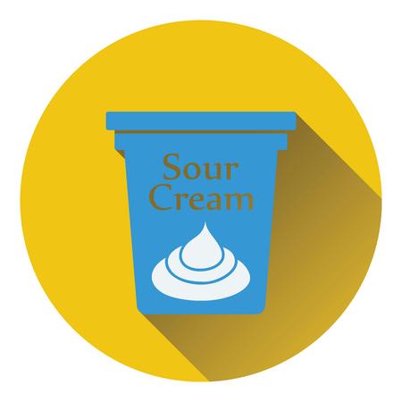 sour cream: Sour cream icon. Flat color design. Vector illustration.
