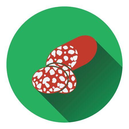 salami: Salami icon. Flat color design. Vector illustration. Illustration