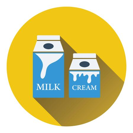 cream color: Milk and cream container icon. Flat color design. Vector illustration. Illustration