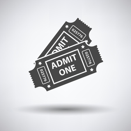 single entry: Cinema tickets icon on gray background, round shadow. Vector illustration.