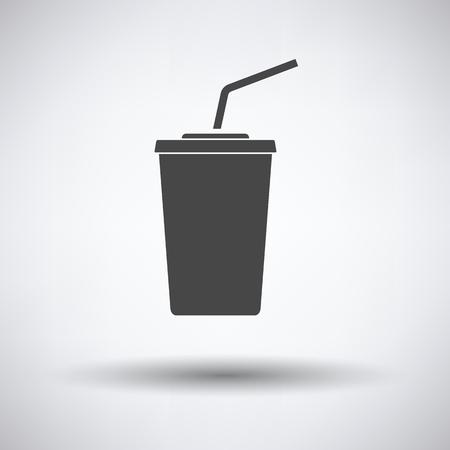 sip: Cinema soda drink icon on gray background, round shadow. Vector illustration.
