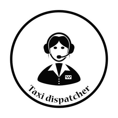 dispatcher: Taxi dispatcher icon. Thin circle design. Vector illustration.