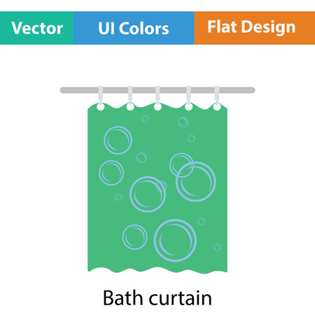 shower curtain: Bath curtain icon. Flat color design. Vector illustration. Illustration