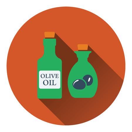oil color: Bottle of olive oil icon. Flat color design. Vector illustration.