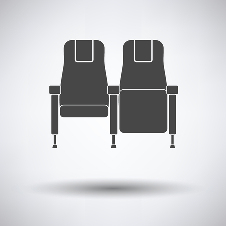 seats: Cinema seats icon on gray background, round shadow. Vector illustration.