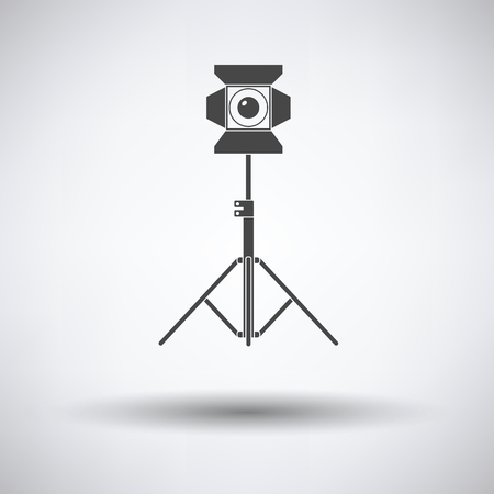 stage projector: Stage projector icon on gray background, round shadow. Vector illustration.