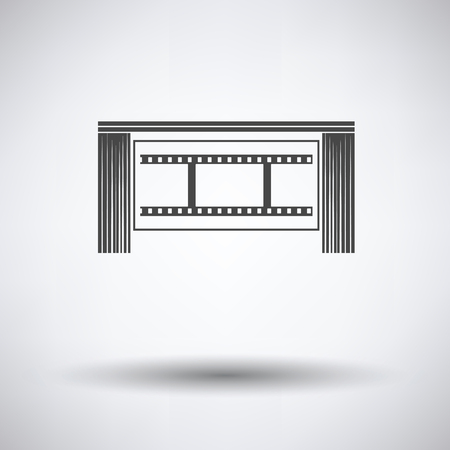 auditorium: Cinema theater auditorium icon on gray background, round shadow. Vector illustration. Illustration