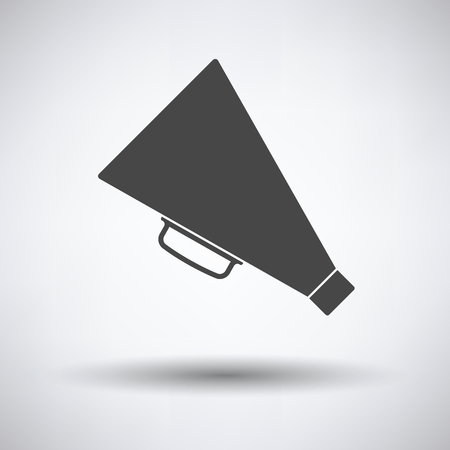 amplify: Director megaphone icon on gray background, round shadow. Vector illustration.