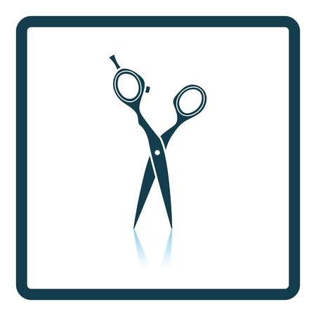 scissors hair: Hair scissors icon. Shadow reflection design. Vector illustration.