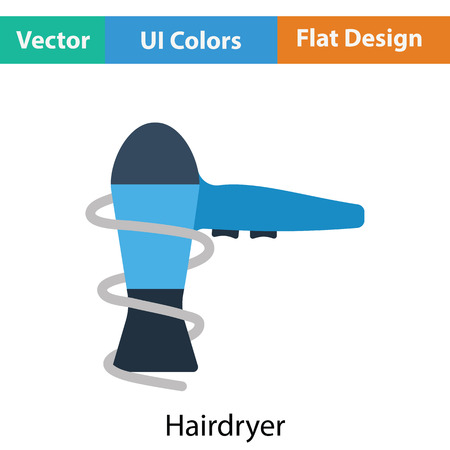 drier: Hairdryer icon. Flat color design. Vector illustration. Illustration