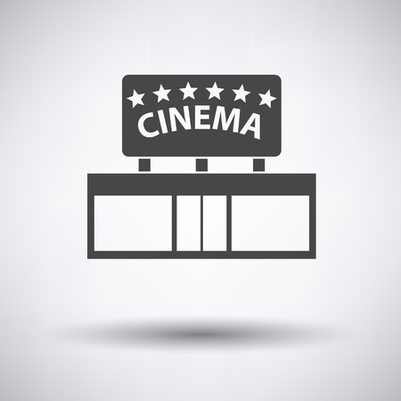 event icon: Cinema entrance icon on gray background, round shadow.  Vector illustration.