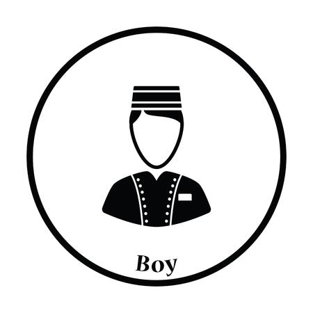 Hôtel garçon icône. cercle design mince. Vector illustration. Vecteurs