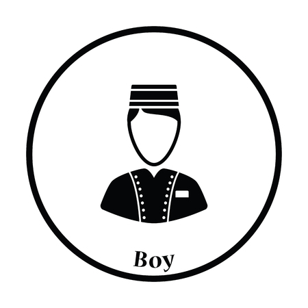 doorkeeper: Hotel boy icon. Thin circle design. Vector illustration.