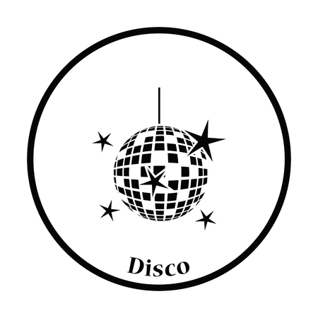 night clubs: Night clubs disco sphere icon. Thin circle design. Vector illustration.