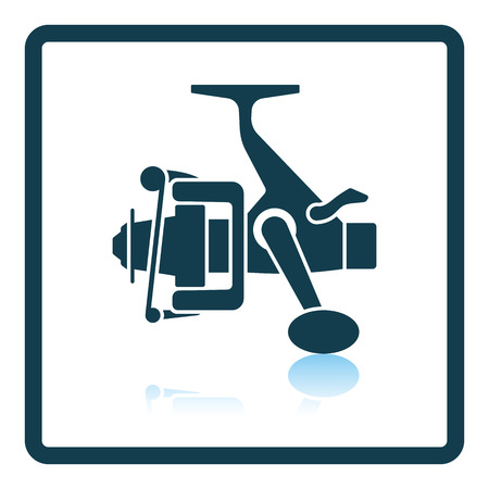 friction: Icon of Fishing reel . Shadow reflection design. Vector illustration.