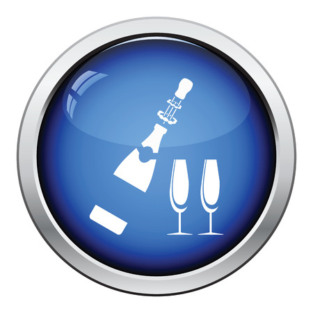 clink: Party champagne and glass icon. Glossy button design. Vector illustration.