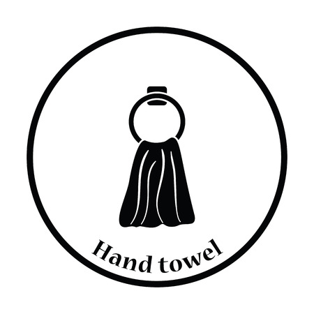 hand towel: Hand towel icon. Thin circle design. Vector illustration.