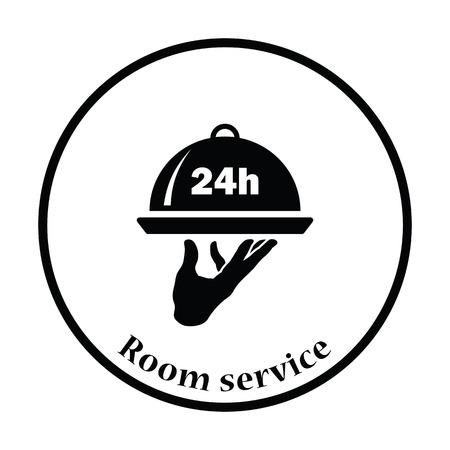 room service: 24 hour room service icon. Thin circle design. Vector illustration. Illustration