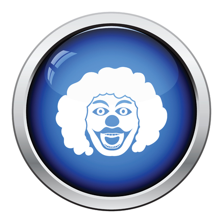 hair mask: Party clown face icon. Glossy button design. Vector illustration.