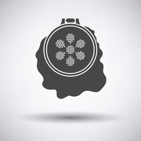 stitchery: Sewing hoop icon on gray background, round shadow. Vector illustration. Illustration