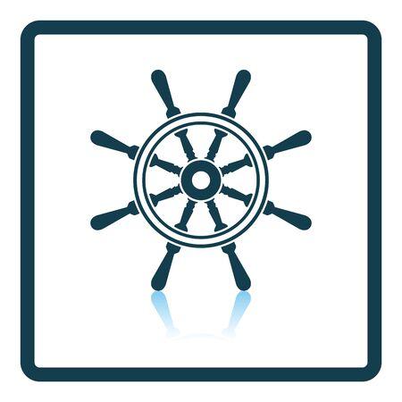 barca da pesca: Icon of  steering wheel . Shadow reflection design. Vector illustration.
