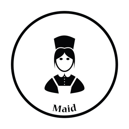 homemakers: Hotel maid icon. Thin circle design. Vector illustration. Illustration