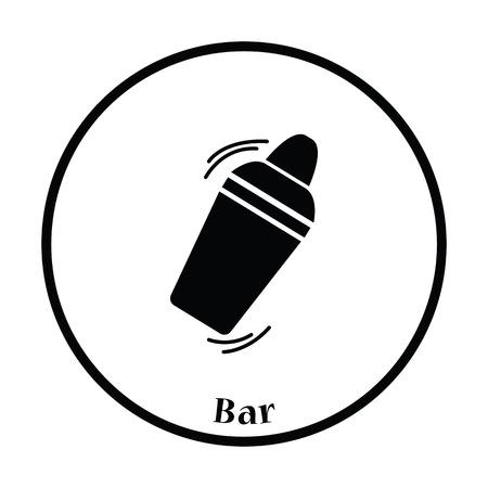 SHAKER: Bar shaker icon. Thin circle design. Vector illustration.