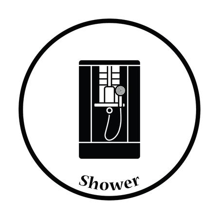 Shower icon. Thin circle design. Vector illustration.