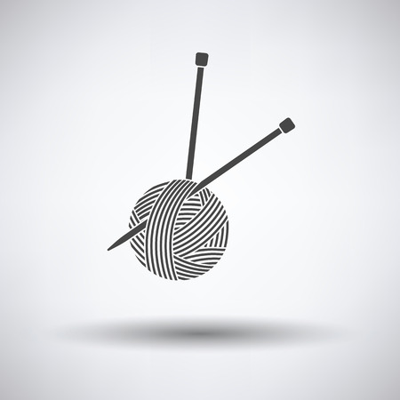 skein: Yarn ball with knitting needles icon on gray background, round shadow. Vector illustration.