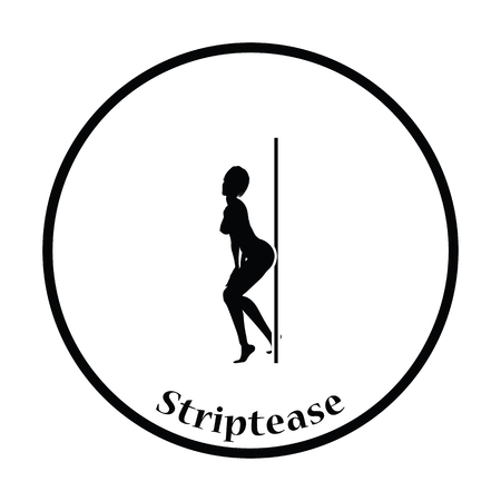 striptease: Stripper night club icon. Thin circle design. Vector illustration. Illustration