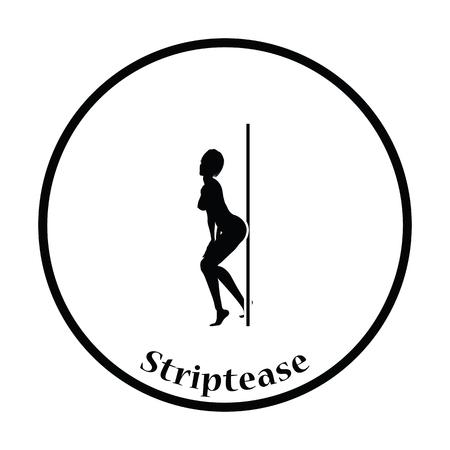 stripper: Stripper night club icon. Thin circle design. Vector illustration. Illustration