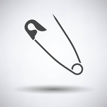 Tailor safety pin icon on gray background, round shadow. Vector illustration.
