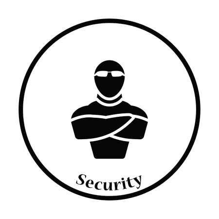 muscular control: Night club security icon. Thin circle design. Vector illustration.