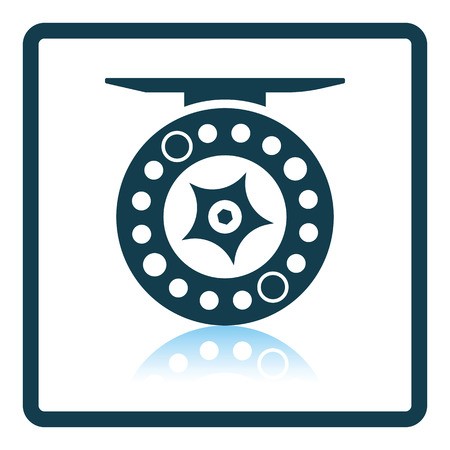 recreational pursuit: Icon of Fishing reel . Shadow reflection design. Vector illustration.