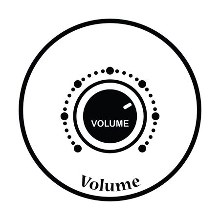 Volume control icon. Thin circle design. Vector illustration.