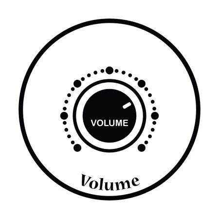 volume control: Volume control icon. Thin circle design. Vector illustration.