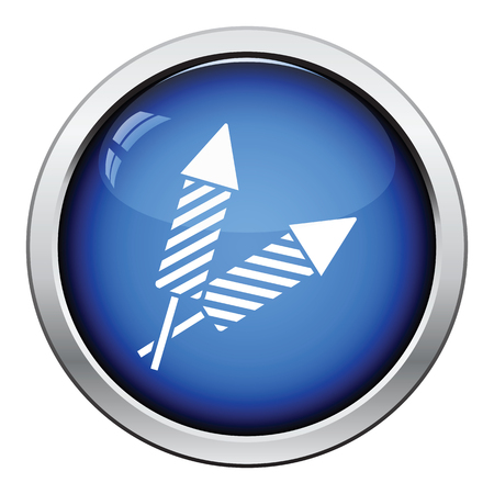 petard: Party petard  icon. Glossy button design. Vector illustration.